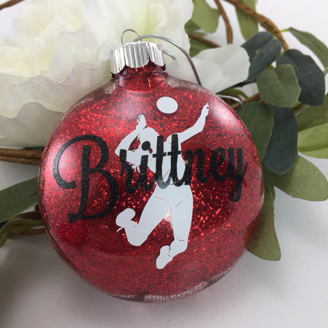 Volleyball Girl Spiking Ball Glitter Ornament