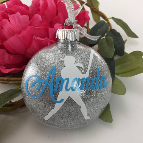 Softball Girl Glitter Ornament