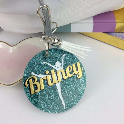 Ballet dancer on toe glitter bag tag
