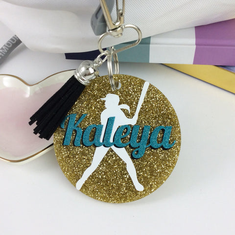 Softball girl glitter bag tag, Personalized bag tag, softball gift, gifts for softball,fast pitch softball, softball accessory, coach gift