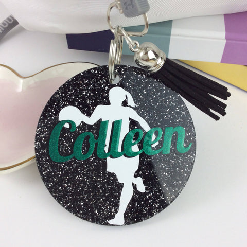 Basketball gift, glitter bag tag