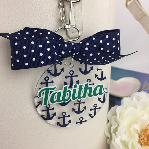 Anchors bag tag, minis, preppy style, Navy anchor Monogram Bag Tag, Personalized, Accessories