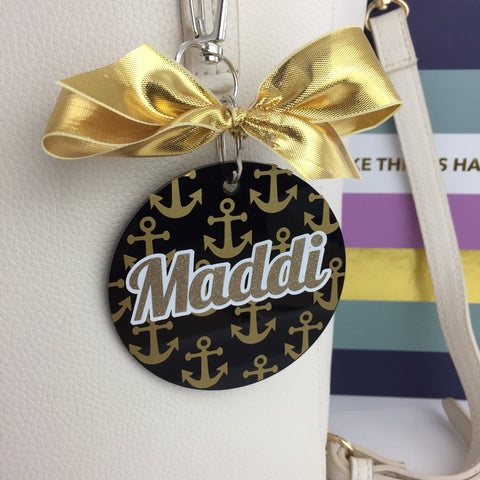 Anchors bag tag, minis, Monogram Bag Tag