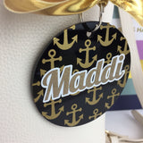 Anchors bag tag, minis, preppy style, gold anchor Monogram Bag Tag, Personalized, Accessories