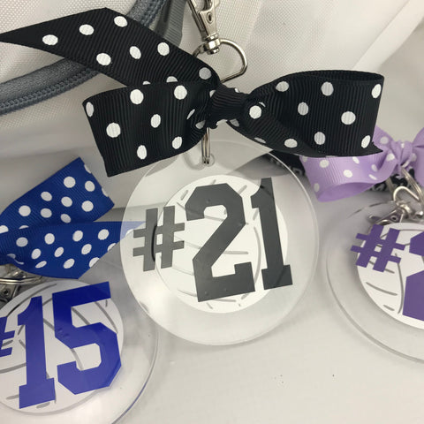 Volleyball Jersey Number Bag Tag with white ball , volleyball gift, Personalized, monogrammed
