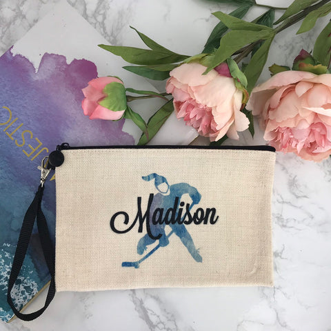 Ice Hockey Makeup Bag, Personalized Ice Hockey Girl Design, Natural Linen, Zipper Pouch, Makeup Bag, Tech Accessory Bag, Hockey Girls