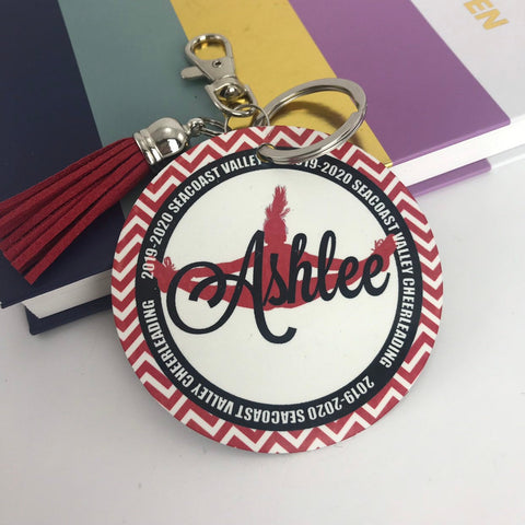 Cheerleader Toe Touch Bag Tag, Aluminum Bag Tag, Cheerleading Gifts, Outer Circle Design, Personalized, Monogrammed