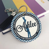 Cheerleader Stunt Team Bag Tag, Aluminum Bag Tag, Cheerleading Gifts, Outer Circle Design, Personalized, Monogrammed