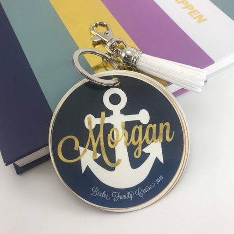 Anchor Bag Tag, Aluminum, Summer Accessory, Family Trip, Girls Trip, Navy with Gold Rings watercolor, Personalized, Monogrammed