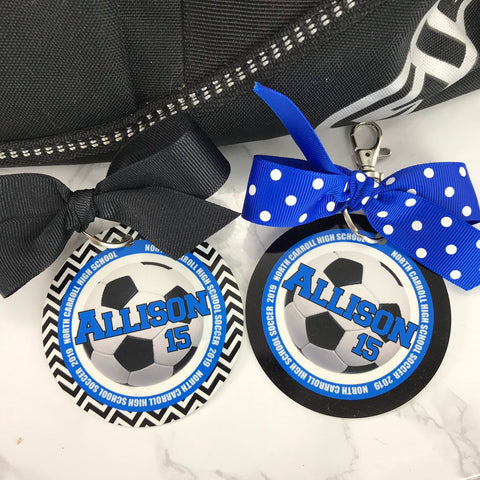 Soccer Bag Tag, Aluminum Bag Tag, Soccer Gifts, Outer Circle Design, Personalized, Monogrammed