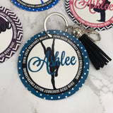 Cheerleader Flyer Bag Tag, Aluminum Bag Tag, Cheerleading Gifts, Outer Circle Design, Personalized, Monogrammed