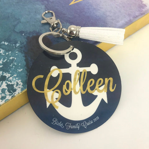Anchor Bag Tag, Aluminum, Summer Accessory, Family Trip, Girls Trip, Navy watercolor, Personalized, Monogrammed