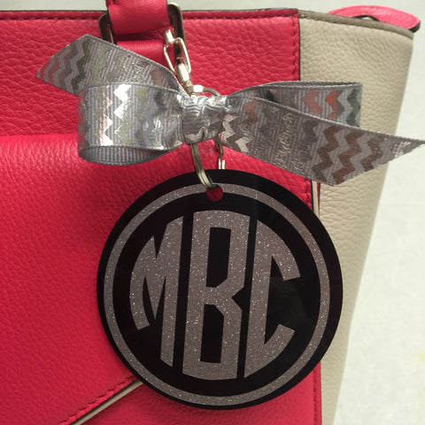 Black bag tag with silver glitter monogram