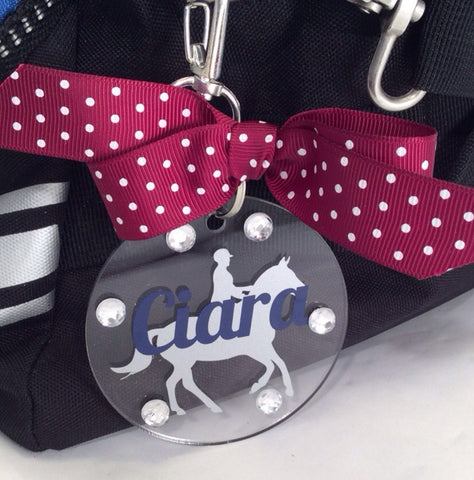 Equestrian Rider Bag Tag, Personalized, Horse Lover Gift