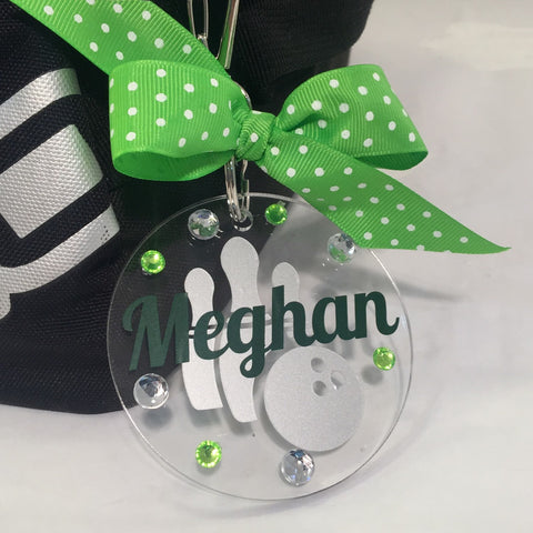 Bowling Bag Tag Personalized with Your Name and Your Colors, Personalized