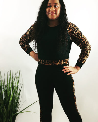 Leopard trim activewear set