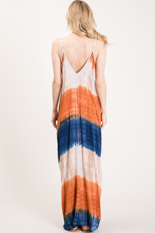 tobacco colored v-neck oversized tie dye dress with side pockets