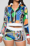 multi color print jacket and short set