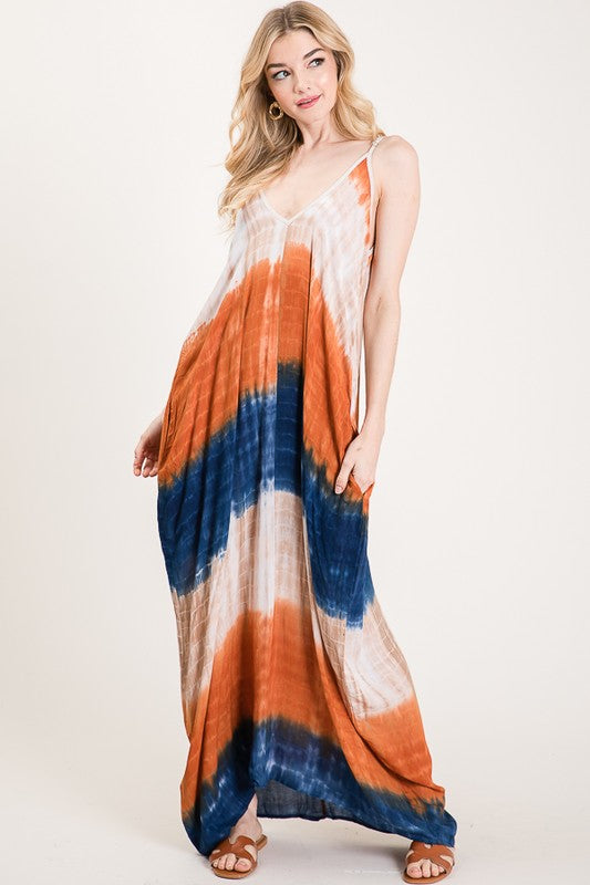oversized tie dye maxi dress with side pockets