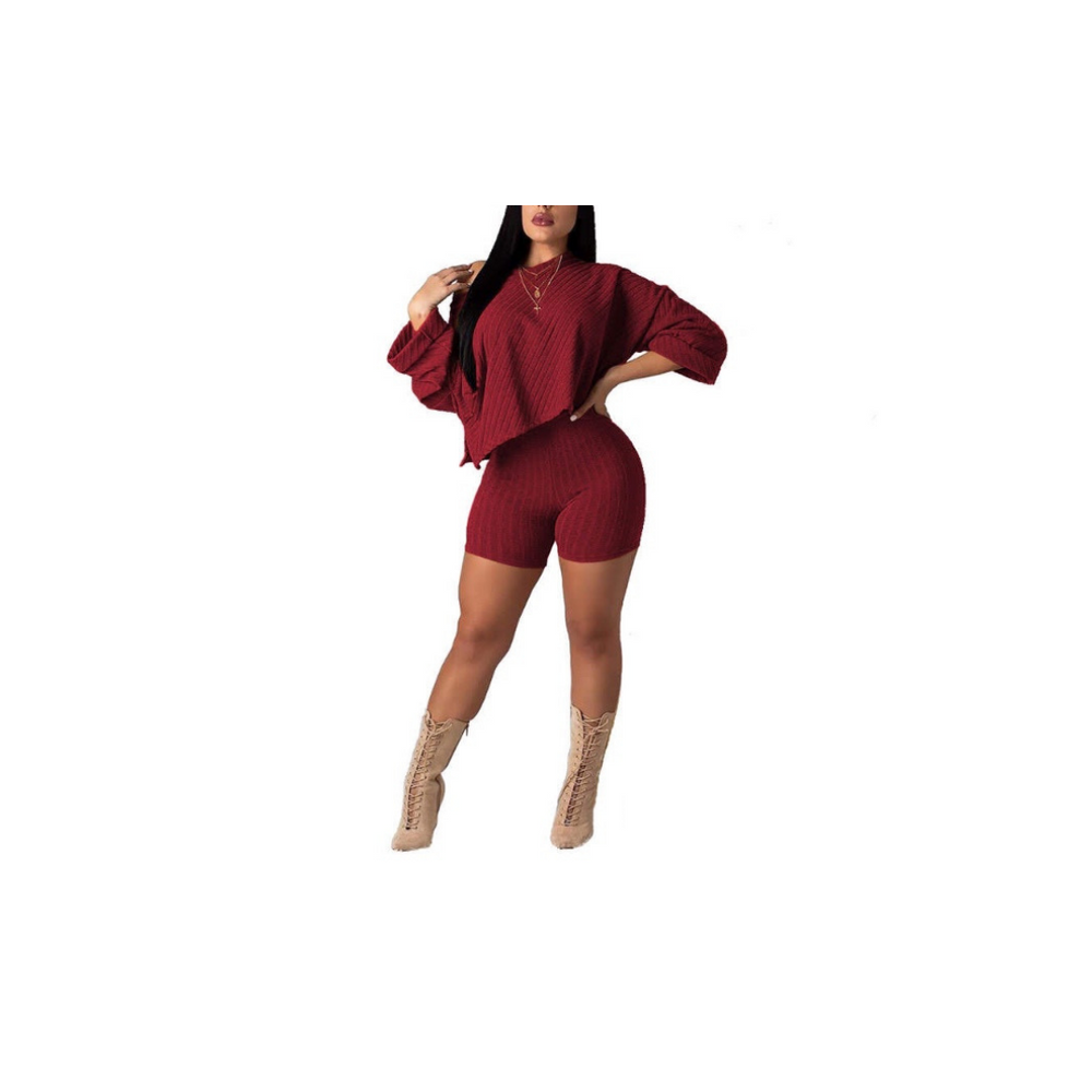 burgundy high waist shorts and asymmetrical top