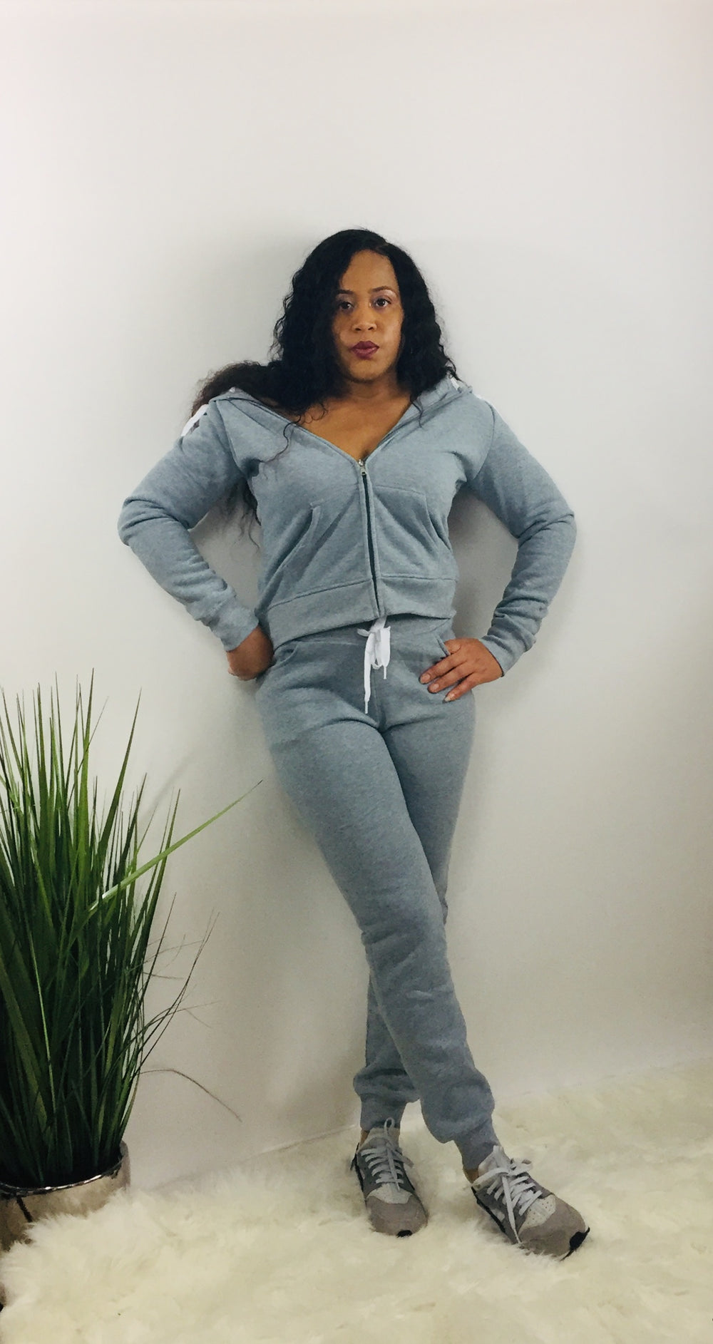 heather gray hooded zippered jacket and matching jogger style pants with pockets