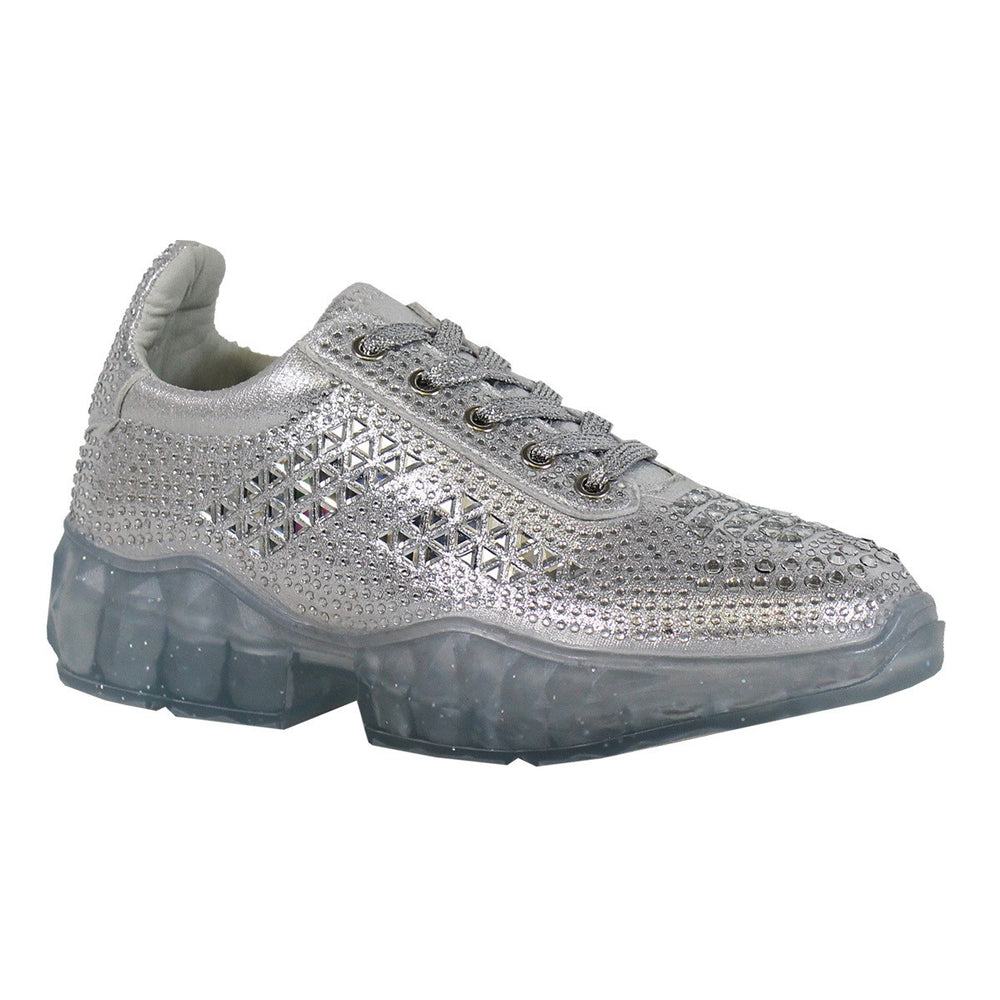 silver rhinestone sneakers with clear bottom