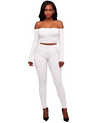 off the shoulder white two piece knit set