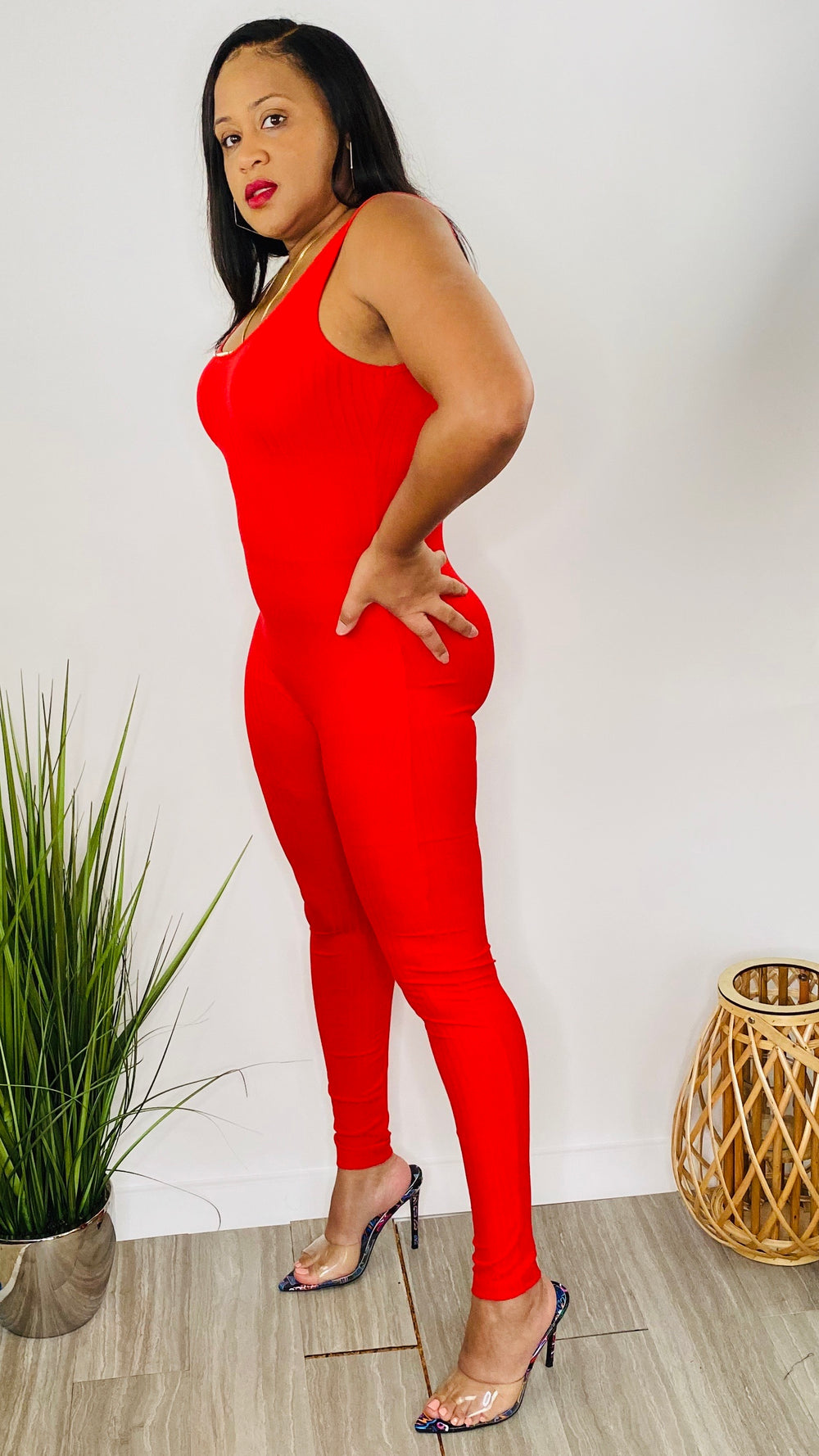 Go Figure | Bodycon Jumpsuit (red)