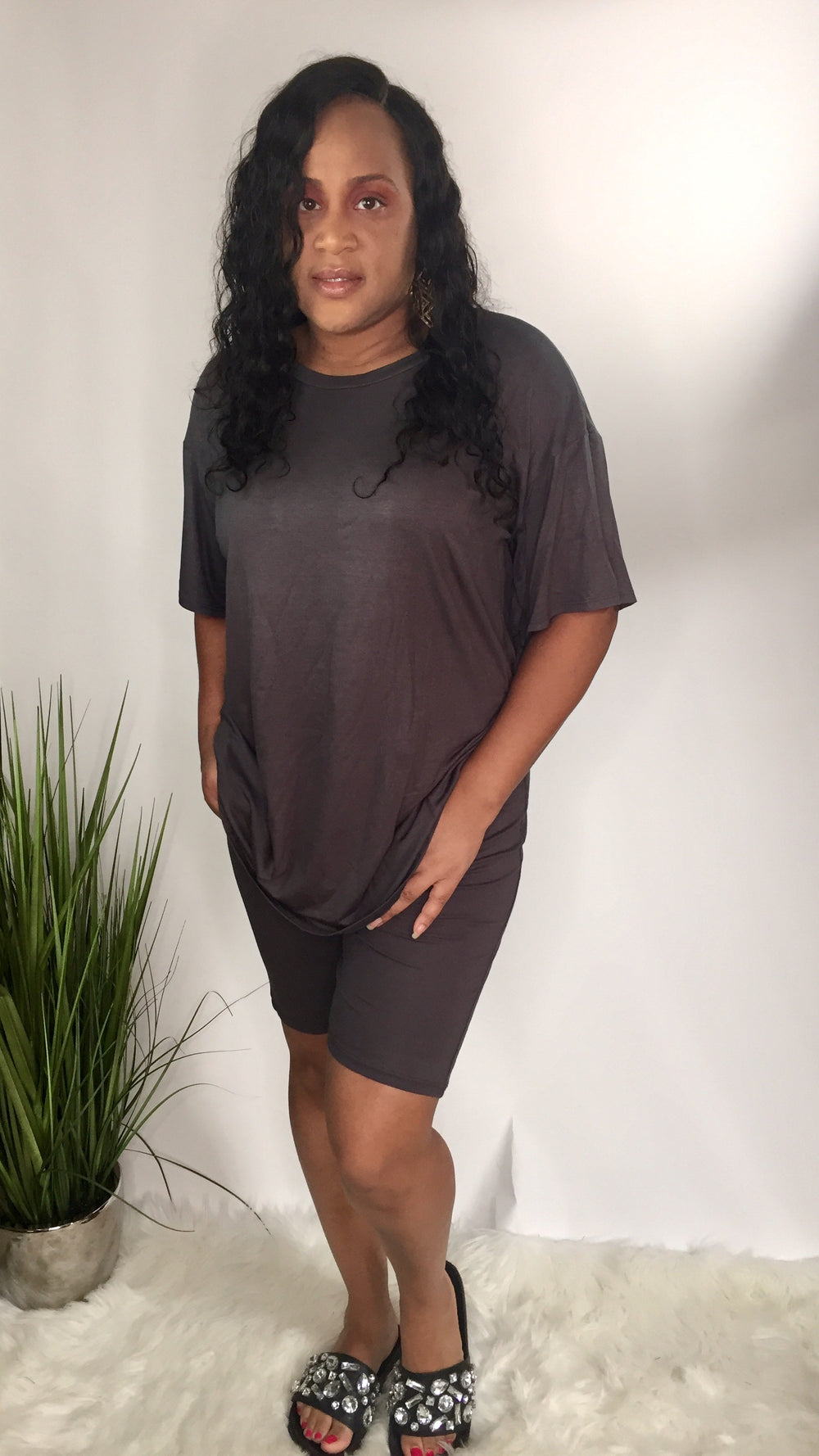 Perfect Lounge | Plus size Two piece biker short set (charcoal)