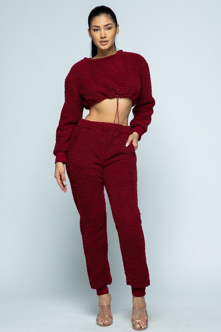 burgundy fuzzy knit crop top with drawstring and high waist jogger pants