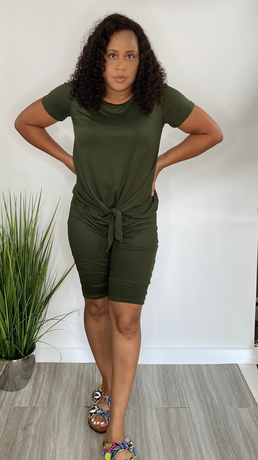 Day Party | Olive green Plus size biker short set