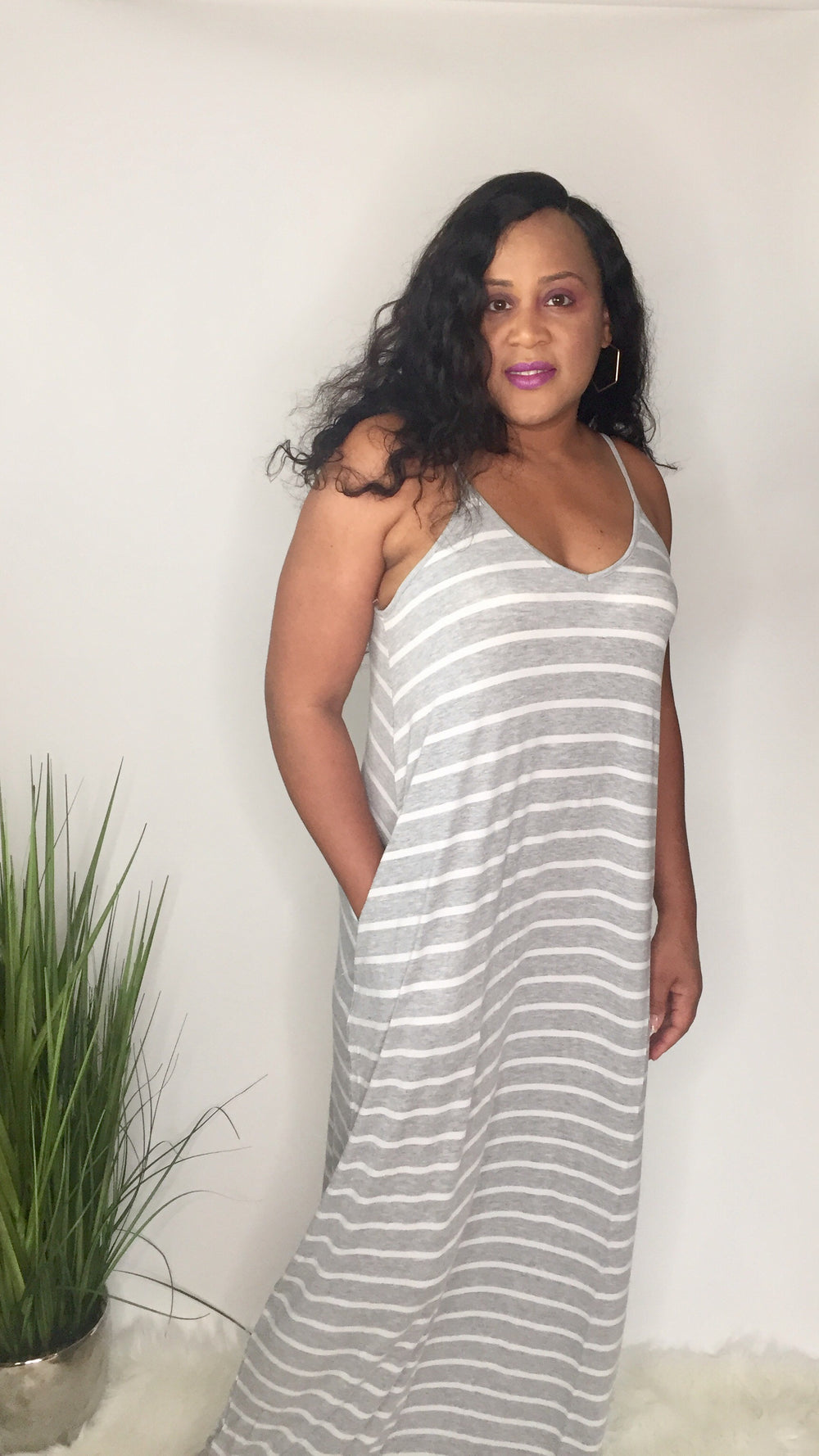 Spring Love | Striped cami maxi dress (heather gray/ivory)