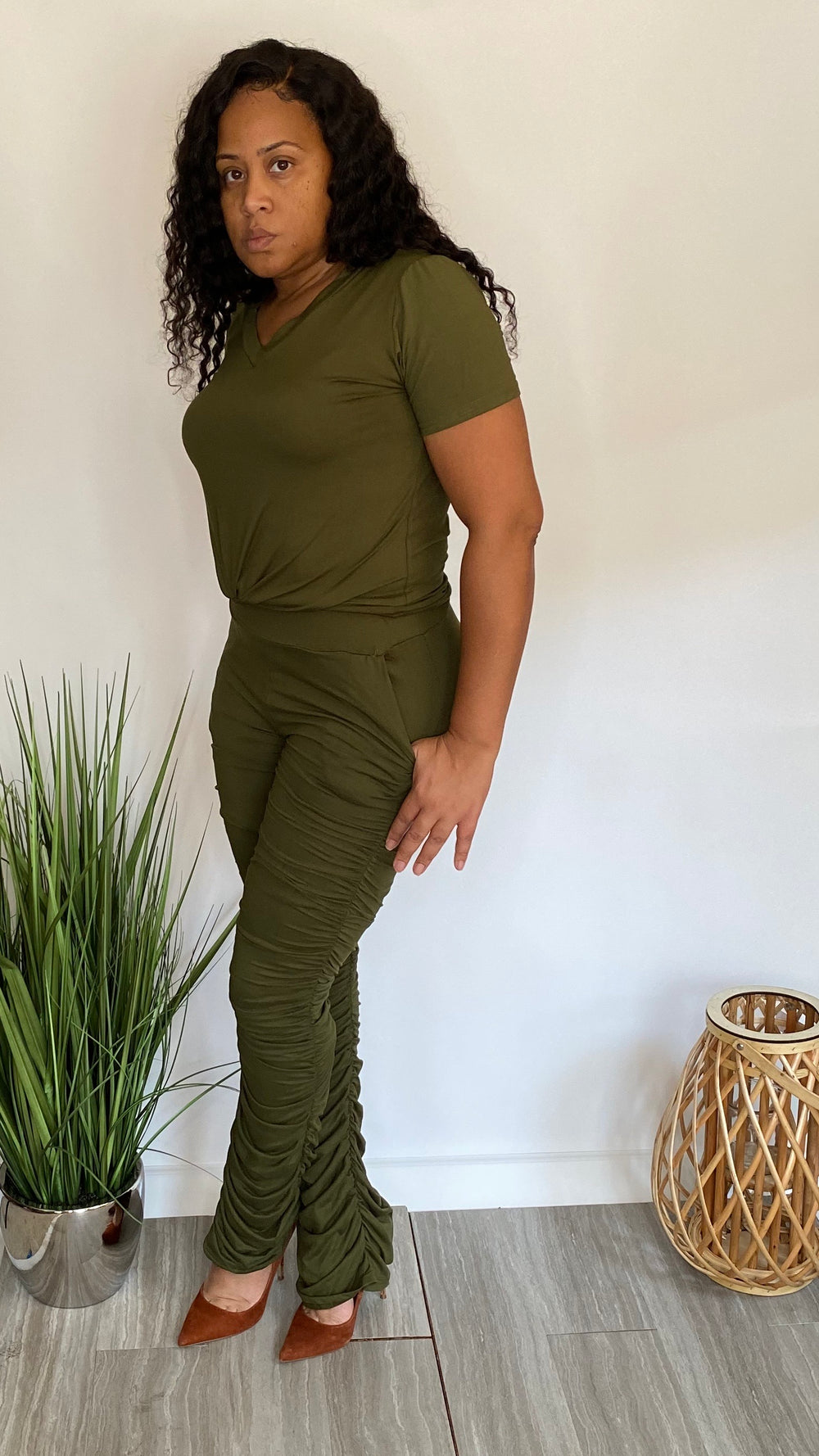 You Got It Girl Set | Two piece ruched bottom set (olive)