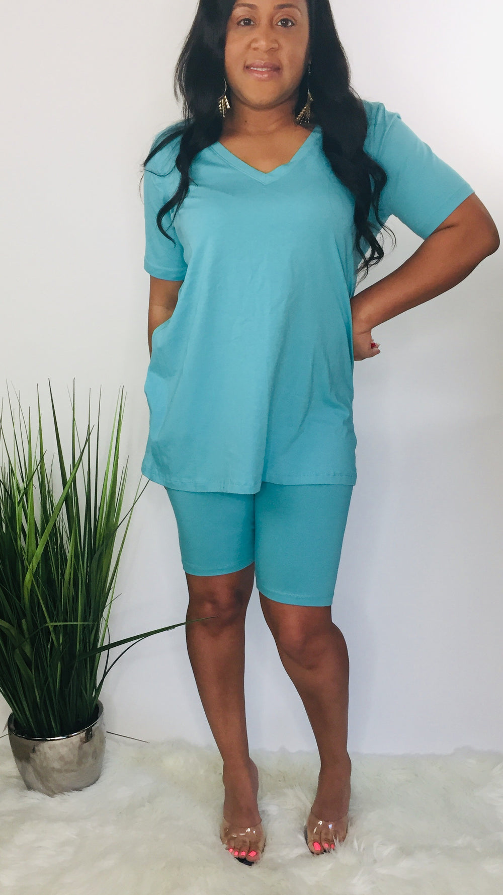 Chill Plus set | Two piece biker short set (ash mint)
