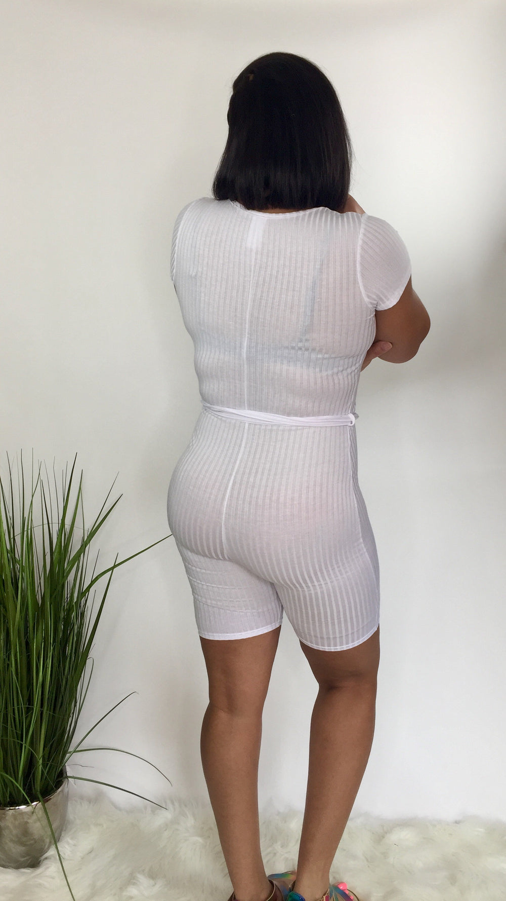 Taking Control | V neck romper (white)