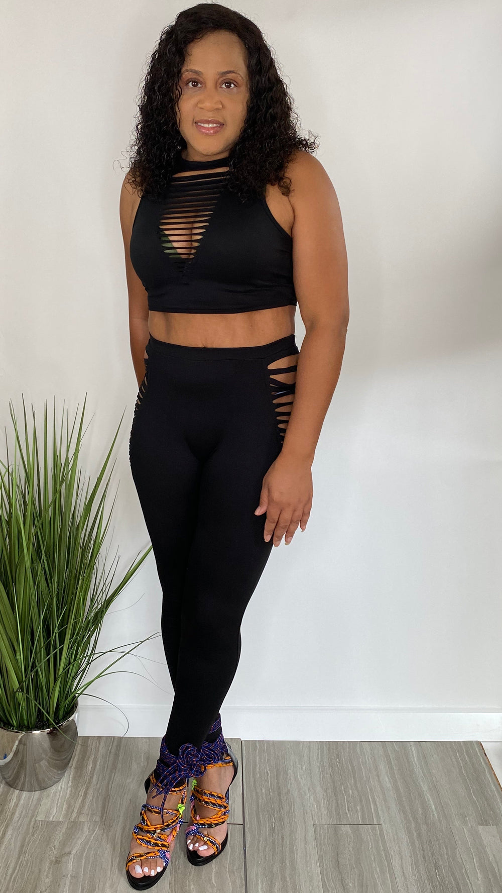 Fly Chick | Crop Top Legging Set (Black)