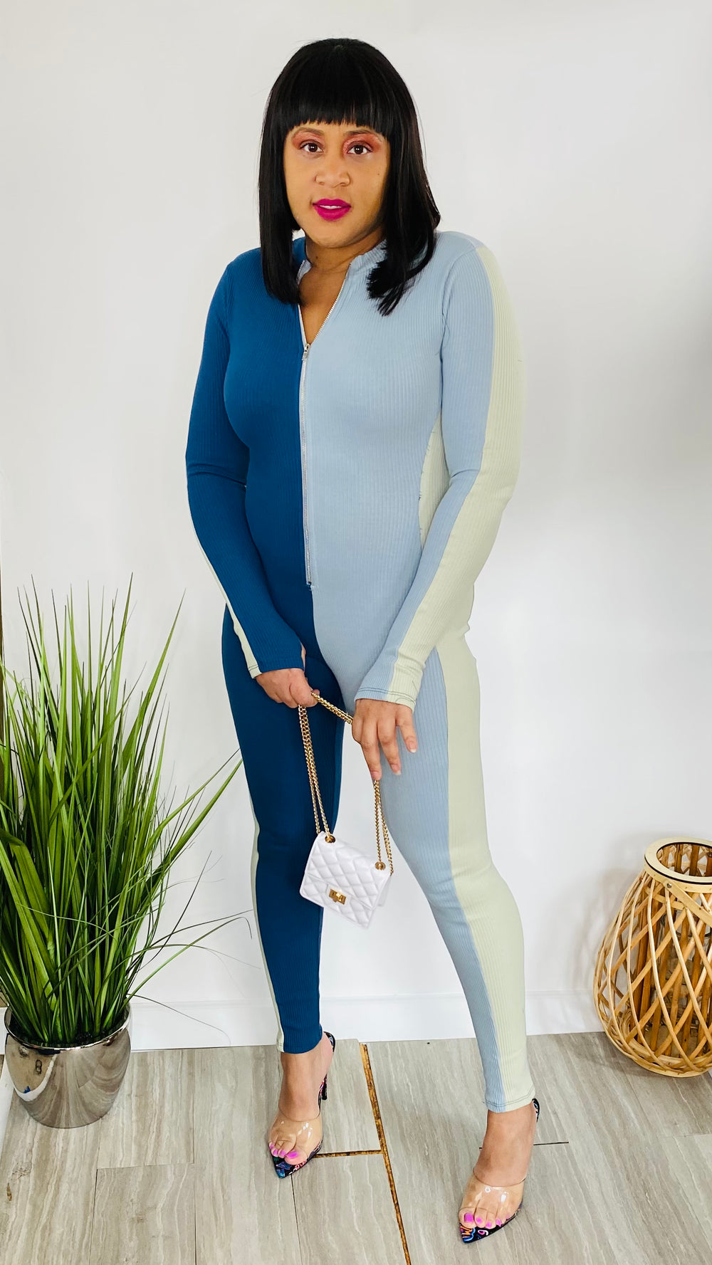 City Love - Colorblock rib jumpsuit (Blue Multi)