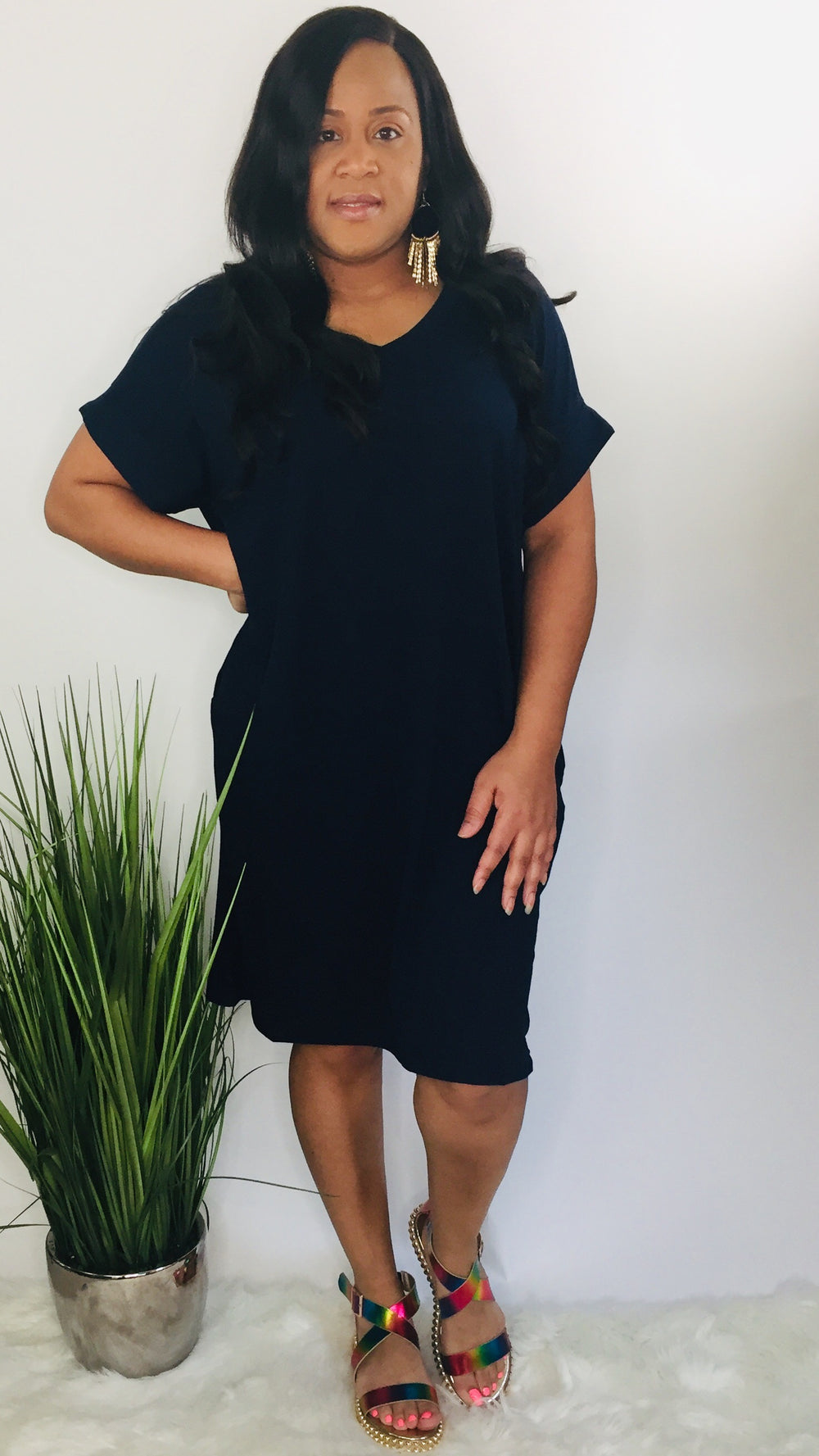 Simple and sassy Plus T-shirt dress (navy)