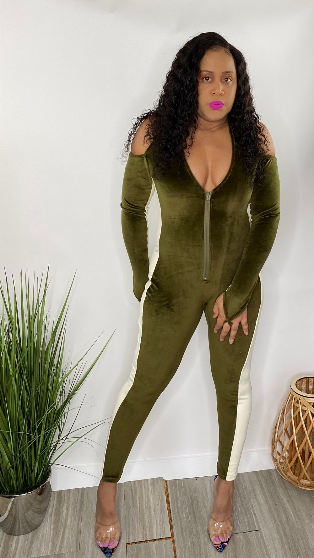 Hourglass - Velour Halter Jumpsuit (Army Green)