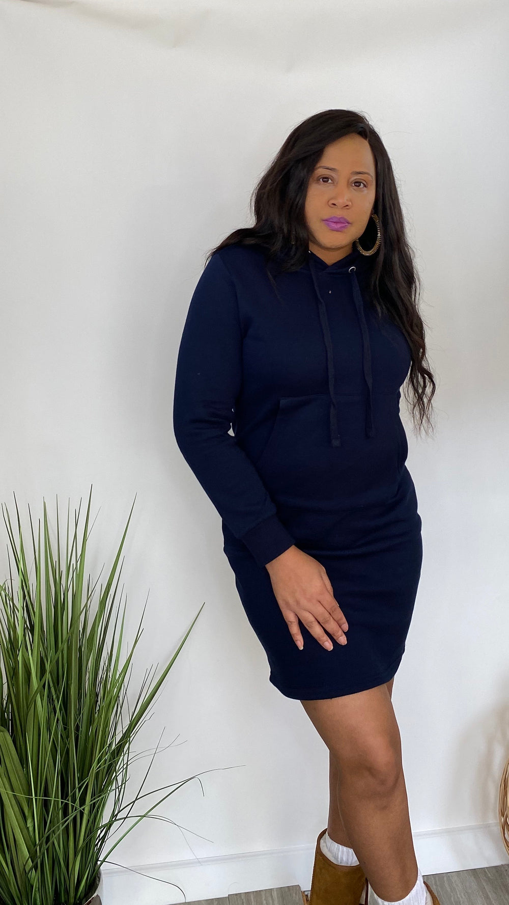 She Fly - Hoodie pullover dress (Navy Blue)