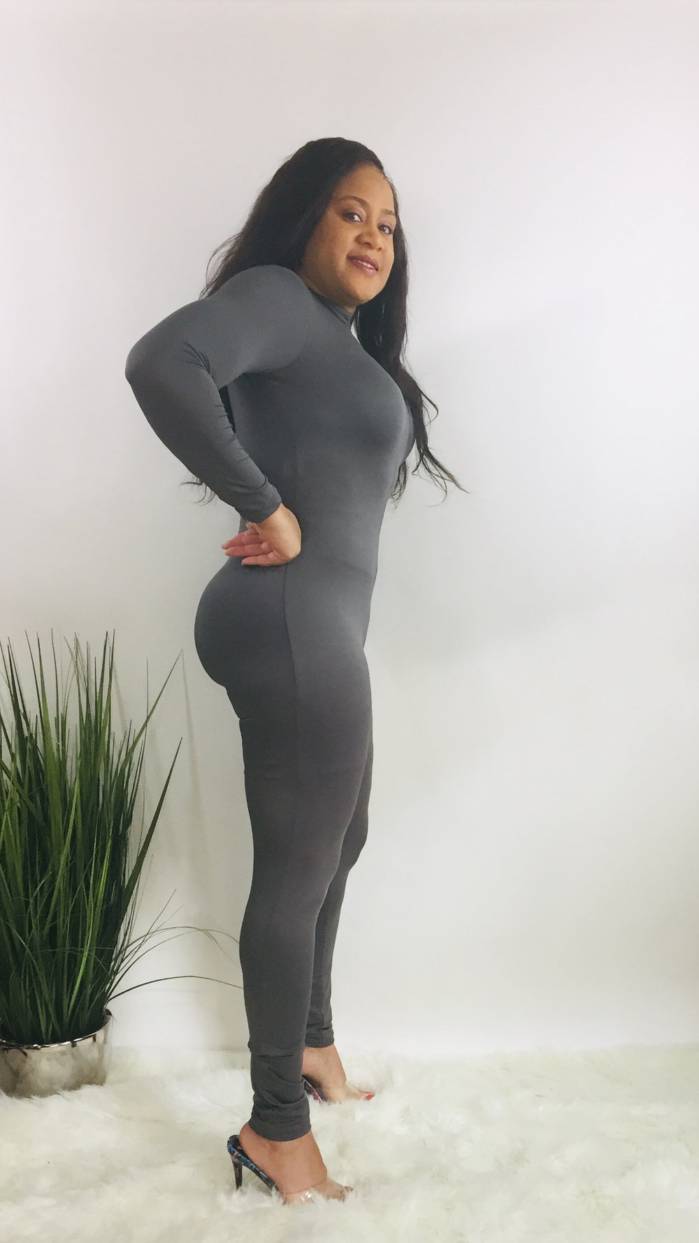 mock neck long sleeve gray jumpsuit