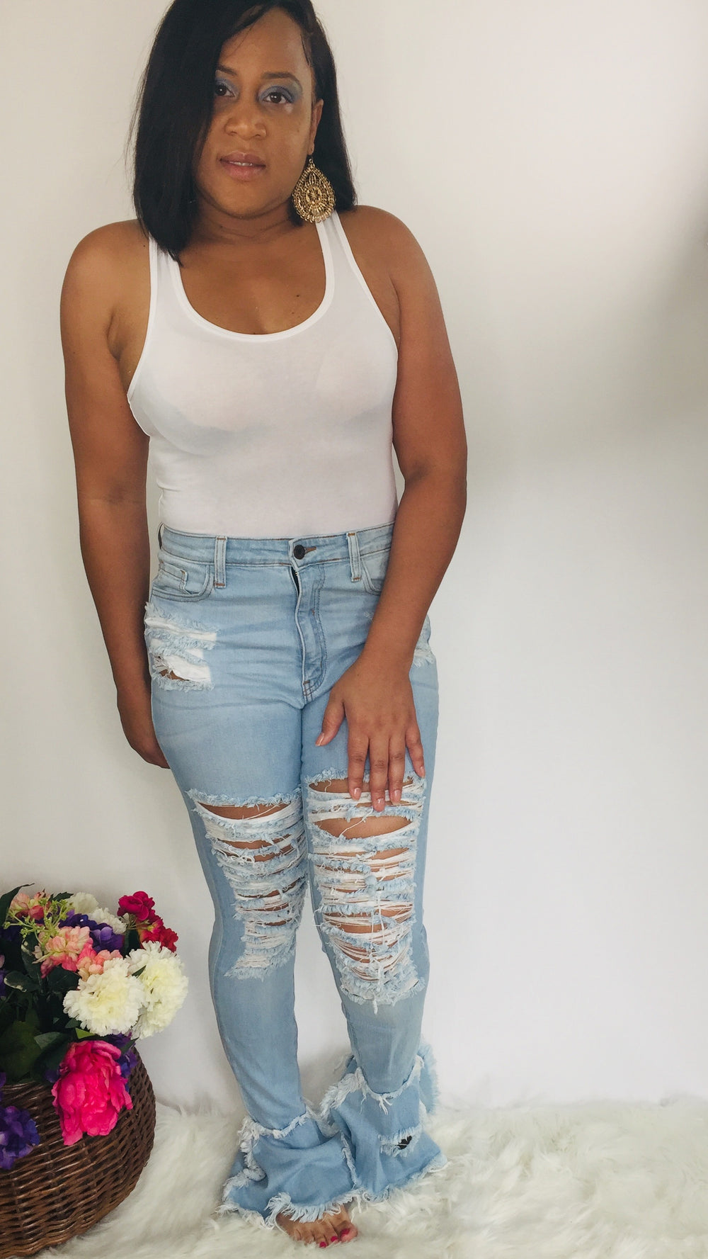 Runway Ave | Frayed Flare Jeans