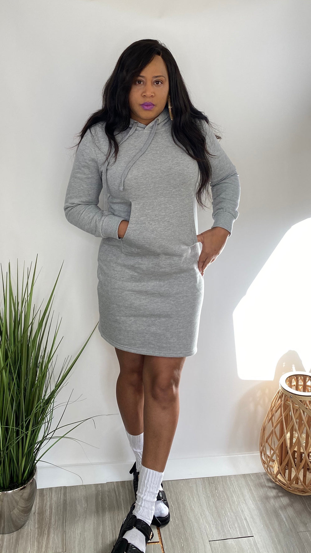 She Fly - Hoodie pullover dress (grey)