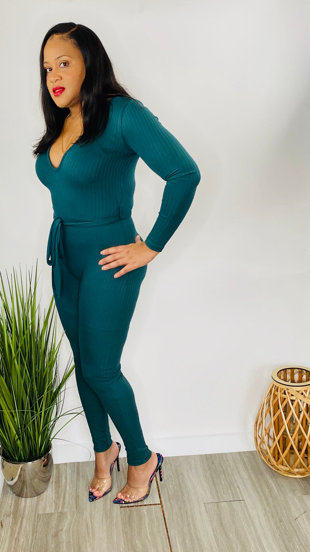 The One | Ribbed High Waist Belted Jumpsuit (Hunter Green)