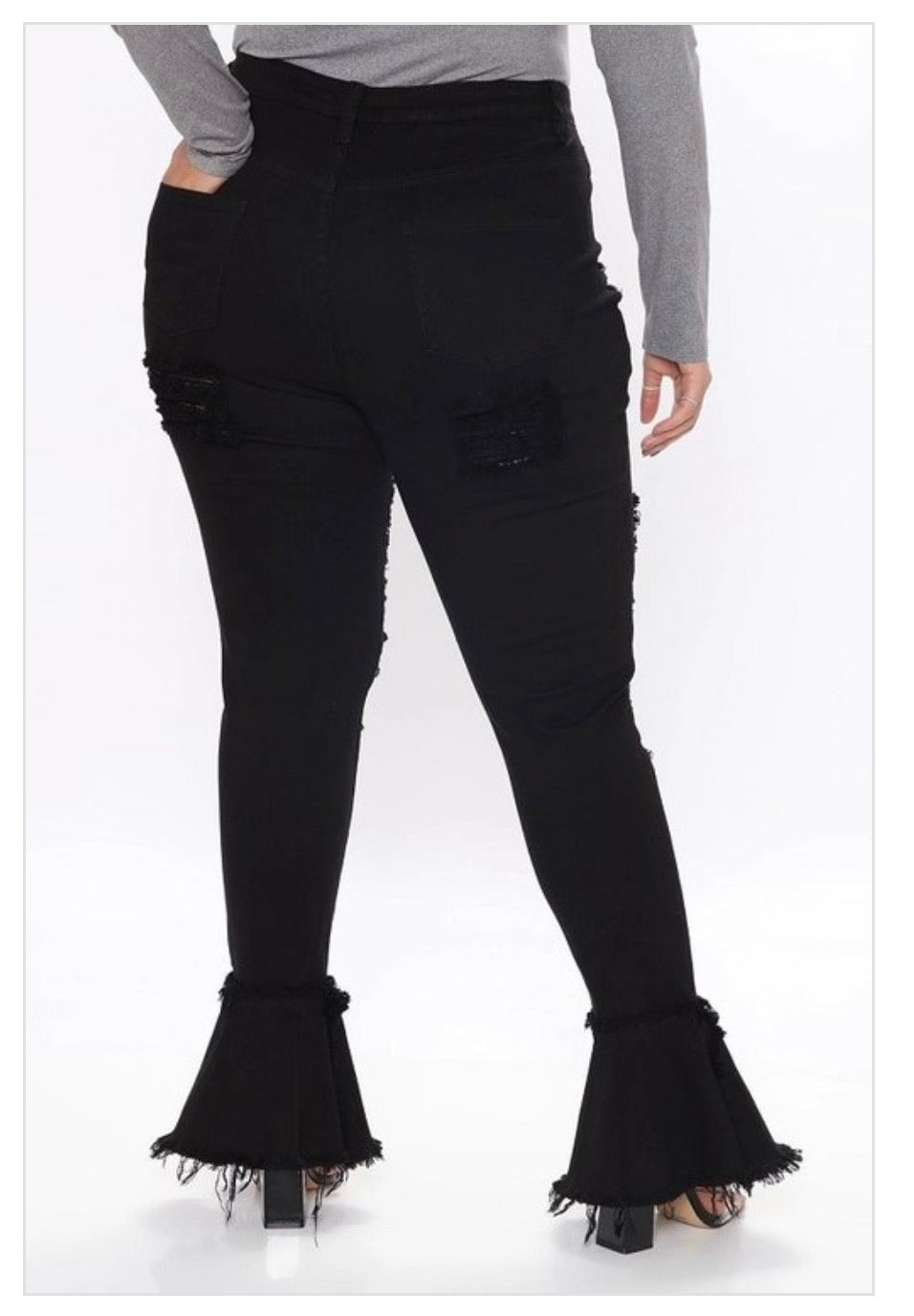 Cute Chill - Plus Size Distressed Flare Jeans (Black)