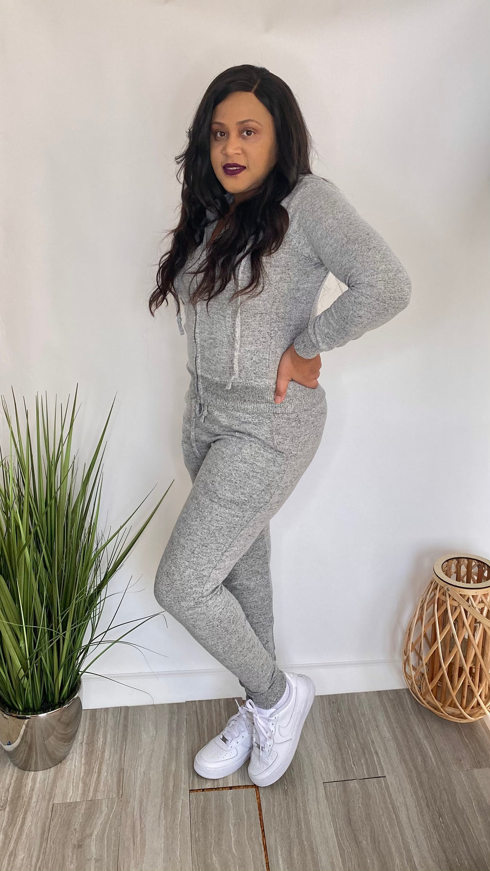 Run The World Plus - Zip front jogger set (Heather Gray)