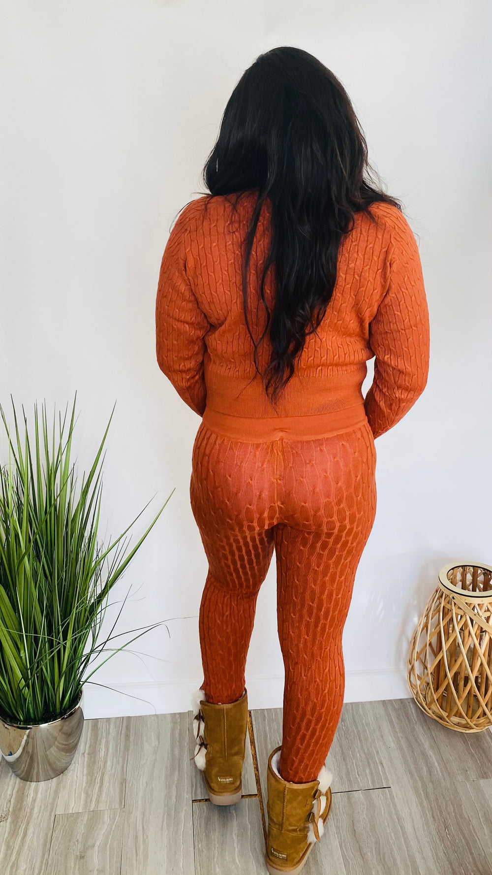 Cozy Queen - Knit Sweater Set (Rust)