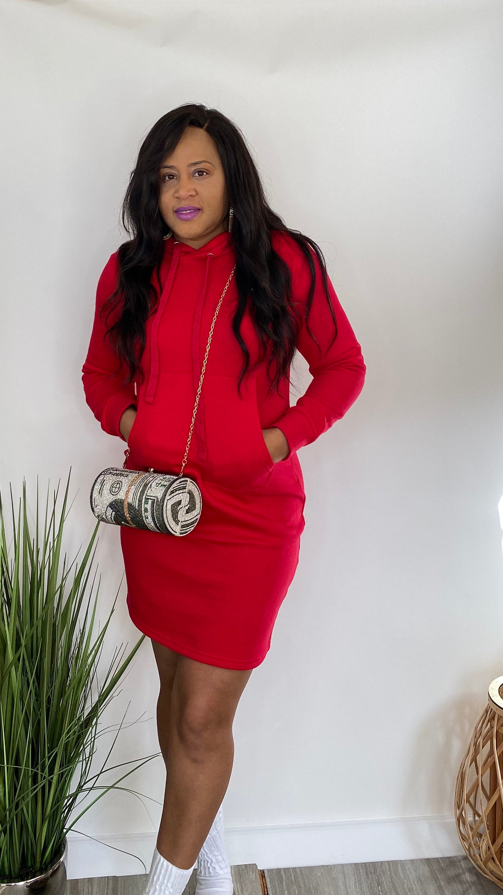 She Fly - Hoodie pullover dress (Red)