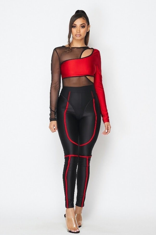 black and red long sleeve bodysuit and matching tights