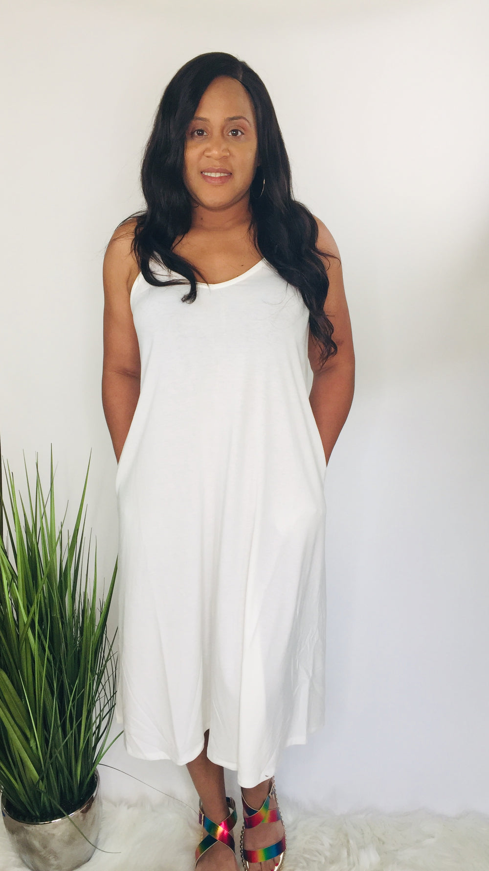 Slip Me On | V-neck cami dress (ivory)